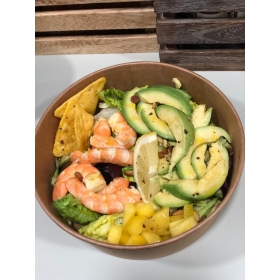 Salade de crevettes, avocats et mangues